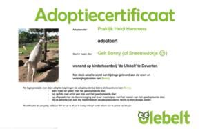 Adoptiecertificaat het Ulebelt